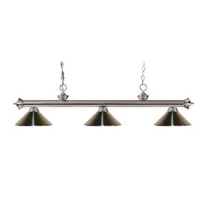 Riviera Brushed Nickel Three-Light Billiard Pendant with Brushed Nickel Shades