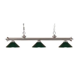 Riviera Brushed Nickel Three-Light Billiard Pendant with Dark Green Metal Shades
