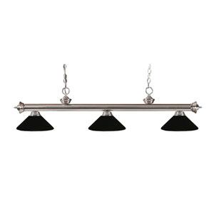 Riviera Brushed Nickel Three-Light Billiard Pendant with Matte Black Metal Shades