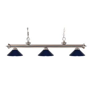 Riviera Brushed Nickel Three-Light Billiard Pendant with Navy Blue Metal Shades