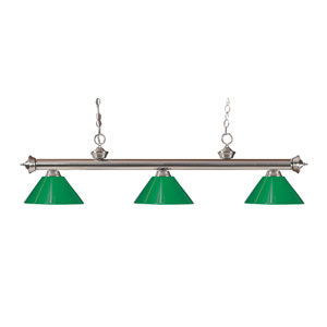 Riviera Brushed Nickel Three-Light Billiard Pendant with Green Plastic Shades