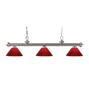 Riviera Brushed Nickel Three-Light Billiard Pendant with Red Plastic Shades