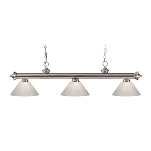 Riviera Brushed Nickel Three-Light Billiard Pendant with White Plastic Shades