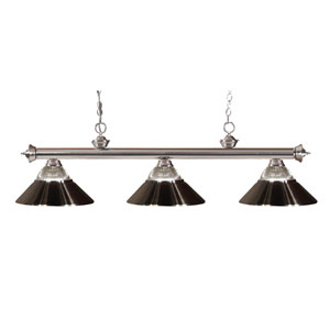 Riviera Brushed Nickel Three Light Billiard Fixture with Clear Ribbed Glass