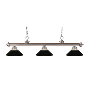 Riviera Brushed Nickel Three-Light Billiard Pendant with Clear Ribbed Glass and Metal Matte Black Shades