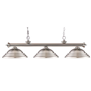 Riviera Brushed Nickel Three Light Billiard Fixture