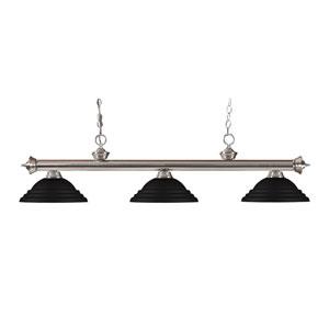 Riviera Brushed Nickel Three-Light Billiard Pendant with Stepped Matte Black Shades