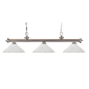 Riviera Brushed Nickel 14 x 15-Inch Three Light Billiard Fixture