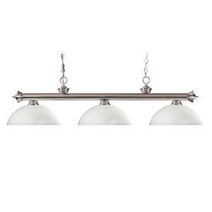 Riviera Brushed Nickel 14-Inch Three Light Billiard Fixture