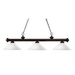 Riviera Three-Light Bronze Island Pendant with Angled Matte Opal Glass Shades