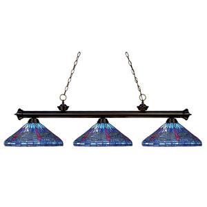 Riviera Three-Light Bronze Island Pendant with Blue Tiffany Glass Shades
