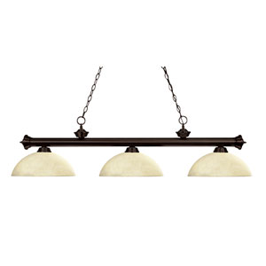 Riviera Three-Light Bronze Island Pendant with Domed Golden Mottle Glass Shades