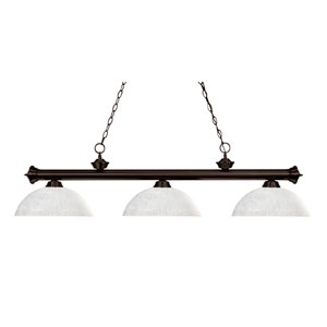 Riviera Three-Light Bronze Island Pendant with Domed White Linen Glass Shades