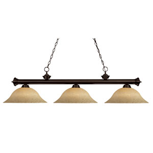 Riviera Three-Light Bronze Island Pendant with Golden Mottle Shades