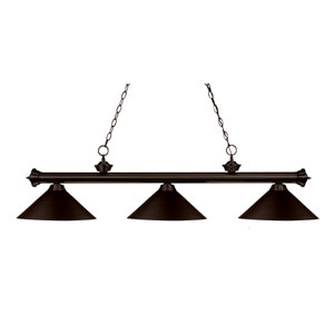 Riviera Three-Light Bronze Island Pendant with Angled Bronze Metal Shades