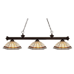 Riviera Three-Light Bronze Island Pendant with Multi-Colored Tiffany Glass Shades