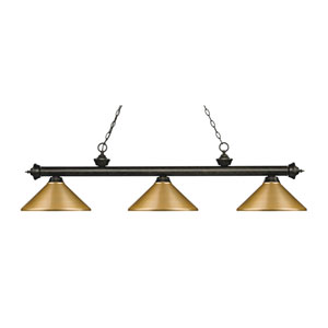 Riviera Golden Bronze 14-Inch Three-Light Island Pendant with Satin Gold Metal Shade