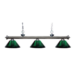 Riviera Gun Metal Three-Light Billiard Pendant with Green Acrylic Shades