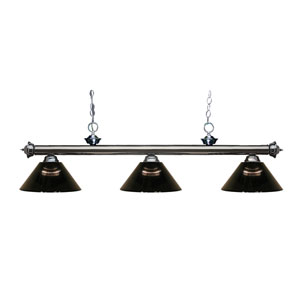 Riviera Gun Metal Three-Light Billiard Pendant with Smoke Acrylic Shades