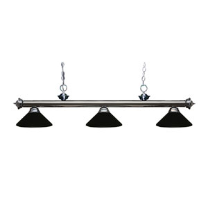Riviera Gun Metal Three-Light Billiard Pendant with Matte Black Shades