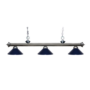 Riviera Gun Metal Three-Light Billiard Pendant with Navy Blue Shades