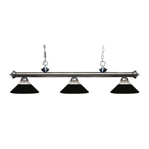 Riviera Gun Metal Three-Light Billiard Pendant with Clear Ribbed Glass and Metal Matte Black Shades