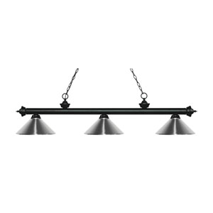Riviera Matte Black Three-Light Pendant with Chrome Metal Shades