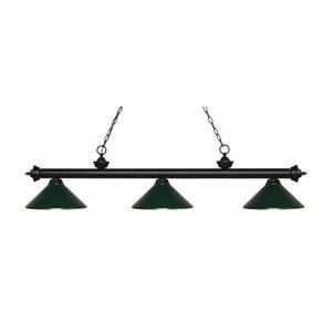 Riviera Matte Black Three-Light Pendant with Dark Green Metal Shades