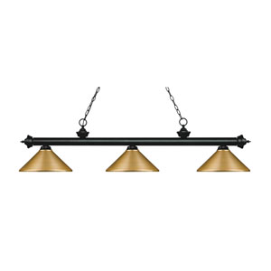 Riviera Matte Black 14-Inch Three-Light Island Pendant with Satin Gold Metal Shade