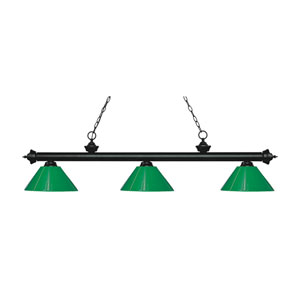 Riviera Matte Black  Three-Light Pendant with Green Plastic Shades