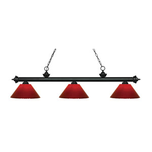 Riviera Matte Black  Three-Light Pendant with Red Plastic Shades