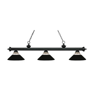 Riviera Matte Black Three-Light Pendant with Matte Black Shades