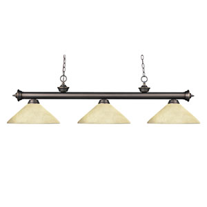 Riviera Three-Light Olde Bronze Island Pendant with Angled Golden Mottle Glass Shades
