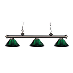 Riviera Olde Bronze Three-Light Billiard Pendant with Green Acrylic Shades