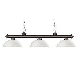 Riviera Three-Light Olde Bronze Island Pendant with Domed Matte Opal Glass Shades