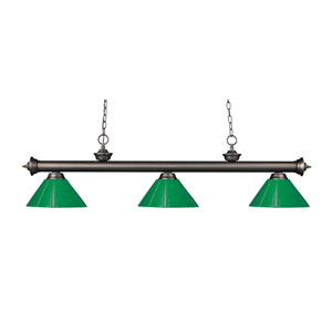 Riviera Olde Bronze Three-Light Billiard Pendant with Green Plastic Shades