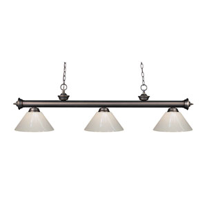 Riviera Olde Bronze Three-Light Billiard Pendant with White Plastic Shades