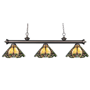 Riviera Three-Light Olde Bronze Island Pendant with Angled Tiffany Glass Shades