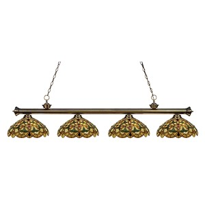 Riviera Antique Brass Four-Light 14-Inch Wide Island Pendant