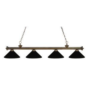 Riviera Antique Brass Four-Light Pendant with Matte Black Shade