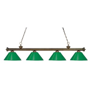 Riviera Antique Brass Four-Light Pendant with Green Plastic Shade