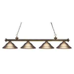 Riviera Antique Brass Four-Light Billiard Pendant with Stepped Antique Brass Shades