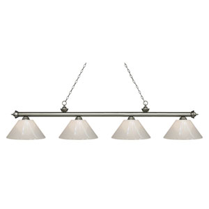 Riviera Antique Silver Four-Light Billiard Pendant with White Plastic Shades