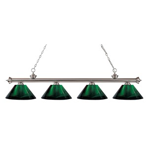 Riviera Brushed Nickel Four-Light Pendant with Green Shade