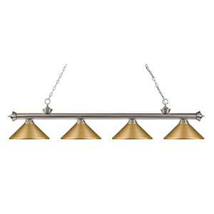 Riviera Brushed Nickel 14-Inch Four-Light Island Pendant with Satin Gold Metal Shade