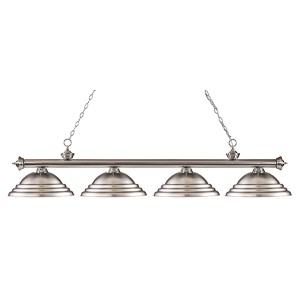 Riviera Brushed Nickel Four-Light 16-Inch Wide Pendant with Stepped Brushed Nickel Metal Shades