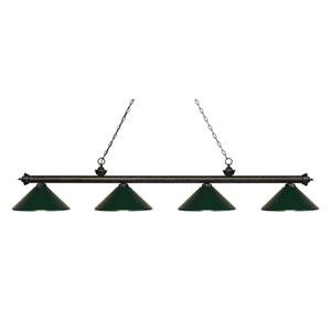 Riviera Golden Bronze Four-Light Billiard Pendant with Dark Green Shades