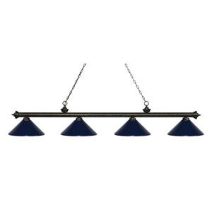 Riviera Golden Bronze Four-Light Billiard Pendant with Navy Blue Shades