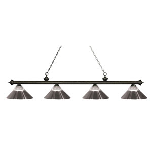 Riviera Golden Bronze Four-Light Billiard Pendant with Clear Ribbed Glass and Brushed Nickel Shades