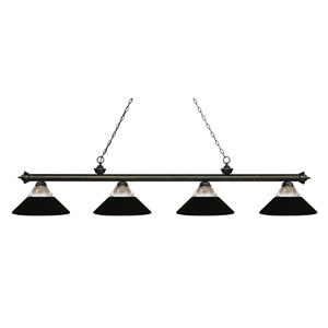 Riviera Golden Bronze Four-Light Billiard Pendant with Clear Ribbed Glass and Matte Black Shades